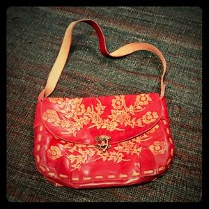 Vintage red leather hand-tooled purse